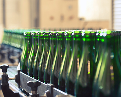 glass bottles in factory
